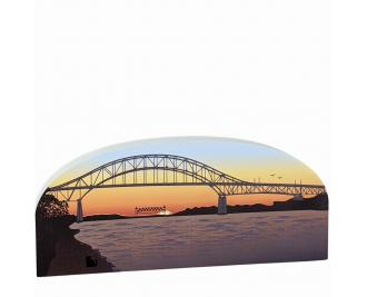 Wooden replica of the Bourne Bridge at sunset handcrafted by The Cat's Meow Village in the USA.