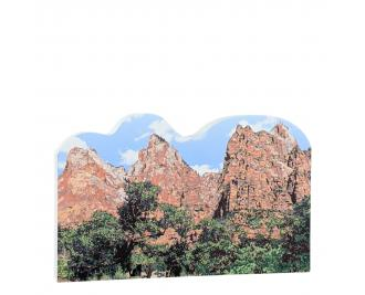 """Court of the Patriarchs, Zion National Park, Utah. Handcrafted in the USA 3/4"""" thick wood by Cat's Meow Village."""