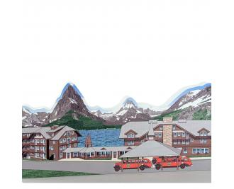 """Many Glacier Hotel, Glacier National Park, Montana. Handcrafted in the USA 3/4"""" thick wood by Cat's Meow Village."""