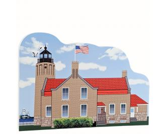 "Old Mackinac Point Lighthouse, Mackinaw City, Michigan, Handcrafted in the USA 3/4"" thick wood by Cat's Meow Village."