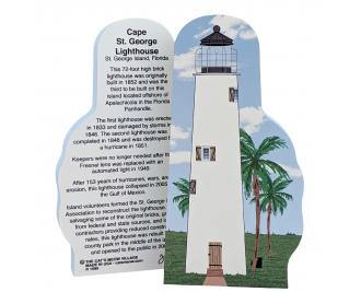 """Cape St. George Lighthouse, St. George Island, Florida. Handcrafted in the USA 3/4"""" thick wood by Cat's Meow Village."""