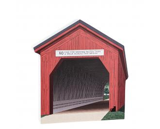 """Zumbrota Covered Bridge, Minnesota. Handcrafted in the USA 3/4"""" thick wood by Cat's Meow Village."""