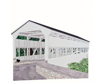 """Knox Covered Bridge, Pennsylvania. Handcrafted in the USA 3/4"""" thick wood by Cat's Meow Village"""