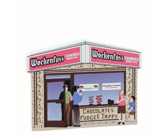 Wockenfuss Candies on the boardwalk in Ocean City, Maryland. Handcrafted wooden replica for your home by The Cat's Meow Village in the USA.