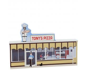 """Tony's Pizza handcrafted in 3/4"""" thick wood by the Cat's Meow Village in the USA."""