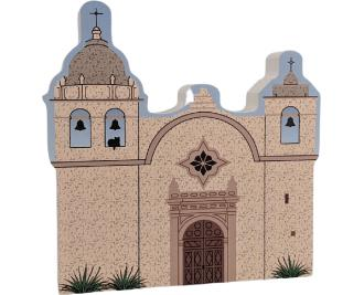 "Mission Carmel, Carmel by the Sea, California. Handcrafted in the USA 3/4"" thick wood by Cat's Meow Village."