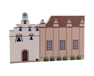 "Mission San Gabriel Arcangel, San Gabriel, CA. Handcrafted in the USA 3/4"" thick wood by Cat's Meow Village."