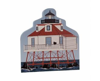 """Thomas Point Lighthouse, Annapolis, Maryland. Handcrafted in the USA 3/4"""" thick wood by Cat's Meow Village."""