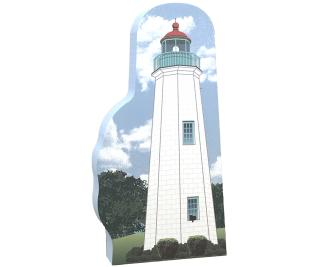 "Handcrafted 3/4"" thick wooden replica of Old Point Comfort Lighthouse, Ft. Morgan VA. Made in the USA by The Cat's Meow Village."