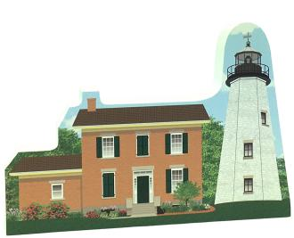 "Handcrafted 3/4"" thick wooden keepsake of the Charlotte-Genesee Lighthouse in Rochester, NY. Made in the US by The Cat's Meow Village"