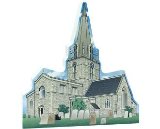 "The handcrafted wooden replica of St. Mary the Virgin Church in Bampton, England, was inspired by the television series ""Downton Abbey."" Created by The Cat's Meow Village and made in the USA."