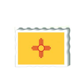 Slightly larger than a deck of cards, this wooden postcard version of the New Mexico flag can fit into any nook around your home or workplace showing off your state pride! Handcrafted in the USA by The Cat's Meow Village.