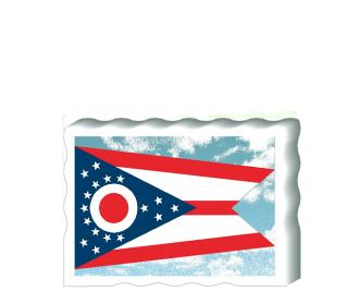 Slightly larger than a deck of cards, this wooden postcard version of the Ohio flag can fit into any nook around your home or workplace showing off your state pride! Handcrafted in the USA by The Cat's Meow Village.