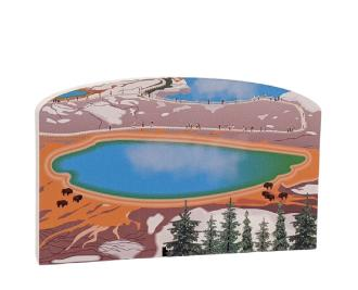 "Grand Prismatic Spring, Yellowstone Nat'l Park. Handcrafted in the USA 3/4"" thick wood by Cat's Meow Village."