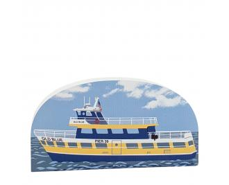 "The ""Old Blue"" Ferry Boat in San Francisco, CA. handcrafted in 3/4"" wood by the Cat's Meow Village in the USA."