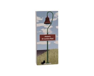 """Colorful replica of an El Camino Real Bell. Handcrafted in the USA 3/4"""" thick wood by Cat's Meow Village."""