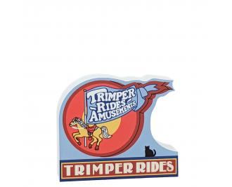 """Trimpers Rides sign, Ocean City, Maryland.  Handcrafted in the USA 3/4"""" thick wood by Cat's Meow Village."""