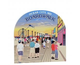 """Boardwalk Scene, Ocean City, Maryland. Handcrafted in the USA 3/4"""" thick wood by Cat's Meow Village."""
