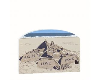 Wooden souvenir of an Ocean City, Maryland sand sculpture handcrafted by The Cat's Meow Village in the USA.
