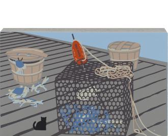Crab Pot & Basket, Chesapeake Bay, crab pot, nautical, blue crabs