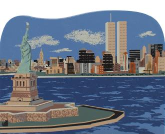 Cat's Meow handcrafted wooden scene of the New York City Skyline pre 9/11