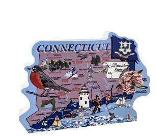 "Add this oversized Connecticut map to your home decor to shout out your state pride. Handcrafted of 3/4"" thick wood by The Cat's Meow Village in the USA."