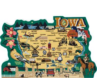 Display your state pride with a state map of Iowa handcrafted in wood by The Cat's Meow Village