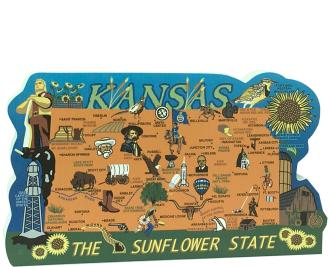 Show your state pride with a state map of Kansas handcrafted in wood by The Cat's Meow Village