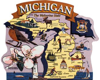 Add this wooden state map of Michigan to your home decor, handcrafted in the USA by The Cat's Meow Village