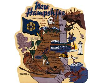 Add this wooden state map of New Hampshire to your home decor, handcrafted in the USA by The Cat's Meow Village