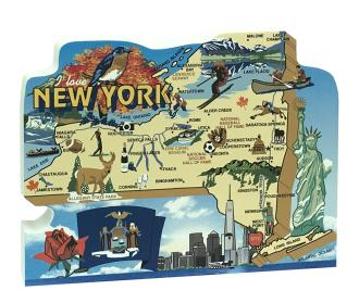 "Add this oversized New York map to your home decor to shout out your state pride. Handcrafted of 3/4"" thick wood by The Cat's Meow Village in the USA."