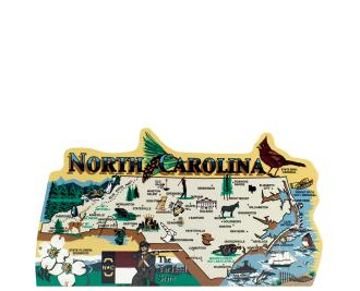 Add this wooden state map of North Carolina to your home decor, handcrafted in the USA by The Cat's Meow Village