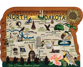 Add this wooden state map of North Dakota to your home decor, handcrafted in the USA by The Cat's Meow Village