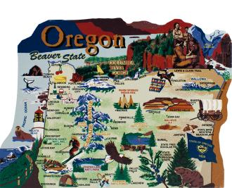 Show your state pride with a state map of Oregon handcrafted in wood by The Cat's Meow Village