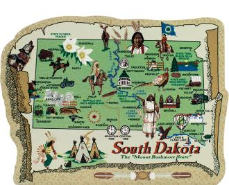 Show your state pride with a state map of South Dakota handcrafted in wood by The Cat's Meow Village