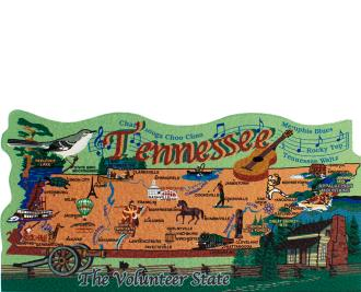Show your state pride with a state map of Tennessee handcrafted in wood by The Cat's Meow Village