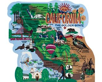 State map of California handcrafted in wood by The Cat's Meow Village