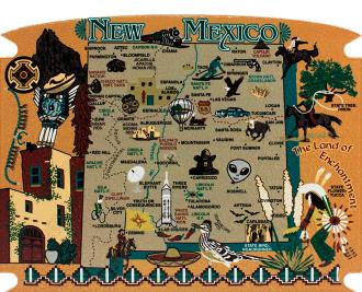 Show your state pride with a state map of New Mexico handcrafted in wood by The Cat's Meow Village