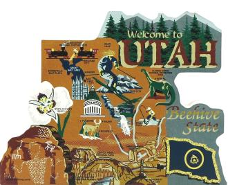 Display your state pride with a state map of Utah handcrafted in wood by The Cat's Meow Village