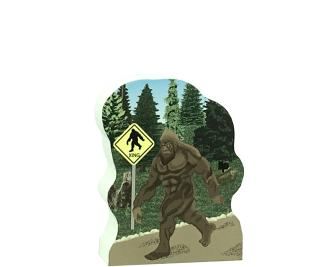 """Now you can own Bigfoot! We handcraft him on 3/4"""" thick wood, so you can set him on your bookshelf, desk, windowsill, etc. Made by The Cat's Meow Village in the USA."""