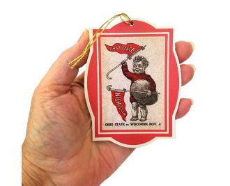 Handcrafted wooden ornament of OSU football 1916 Season Wisconsin Program cover