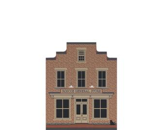"""Vintage Roscoe General Store from Canal Town Series handcrafted from 3/4"""" thick wood by The Cat's Meow Village in the USA"""