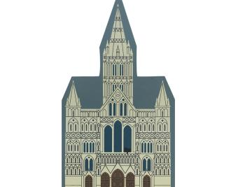"Vintage Salisbury Cathedral from English Traveler Series handcrafted from 3/4"" thick wood by The Cat's Meow Village in the USA"