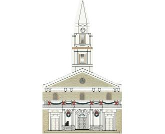 "Vintage St. Mark's-In-The-Bowery from New York Christmas Series handcrafted from 3/4"" thick wood by The Cat's Meow Village in the USA"