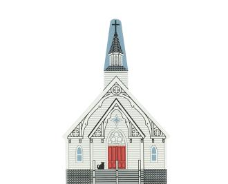 "Vintage St. Bridget Church from New England Church Series handcrafted from 3/4"" thick wood by The Cat's Meow Village in the USA"