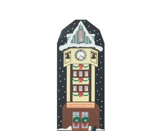 "St. Nicholas Square Clock from Vintage North Pole handcrafted from 3/4"" thick wood by The Cat's Meow Village in the USA"