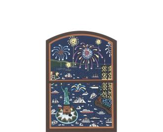 "Vintage Summer Window from Windows of the Season Series handcrafted from 3/4"" thick wood by The Cat's Meow Village in the USA"