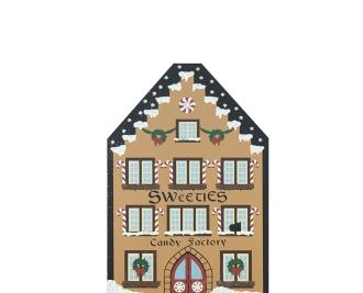 "Sweeties Candy Factory from Vintage North Pole handcrafted from 3/4"" thick wood by The Cat's Meow Village in the USA"