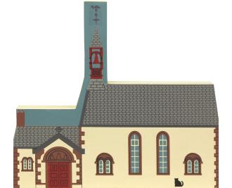 "Parish Church, Kirkpatrick Juxta, Scotland from Great Britain Series handcrafted from 3/4"" thick wood by The Cat's Meow Village in the USA"