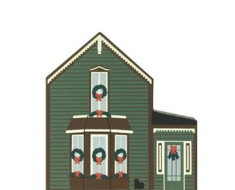 "Vintage Tabor House from Rocky Mountain Christmas Series handcrafted from the 3/4"" thick wood by The Cat's Meow Village in the USA"